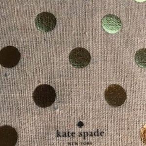NWOT Kate Spade linen portfolio, gold polka dots